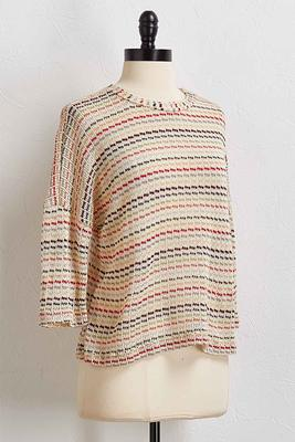 multi stripe loose knit top