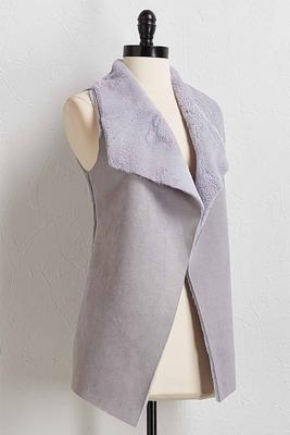 draped faux suede vest