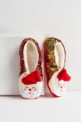 sequined santa slippers