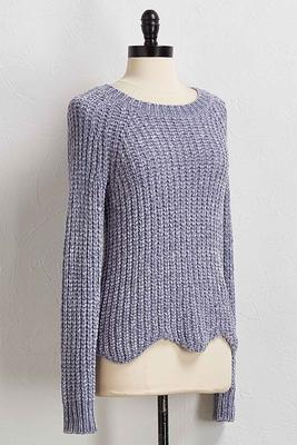 blue scalloped chenille sweater