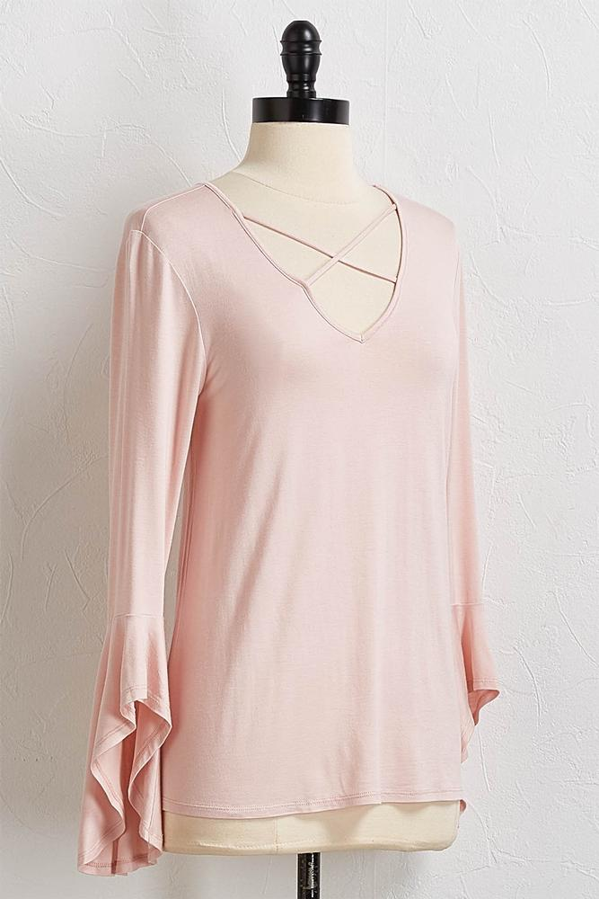 Criss Cross Flare Sleeve Top