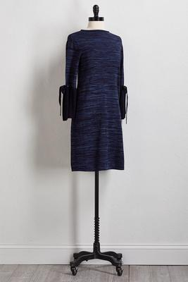 navy bell sleeve sweater dress