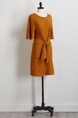 ribbed tie front dress