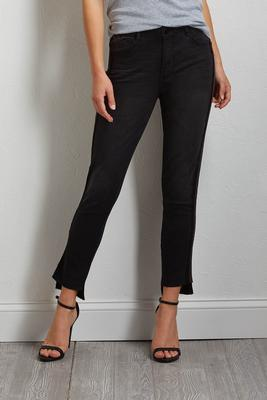 lace and stripe trim jeans