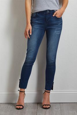lace up hem ankle jeans