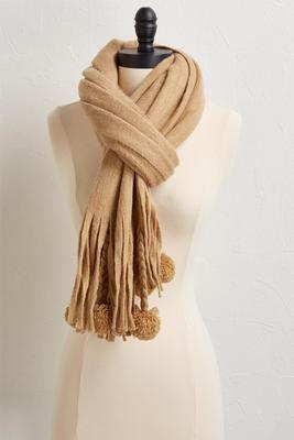 fringe and pom pom scarf