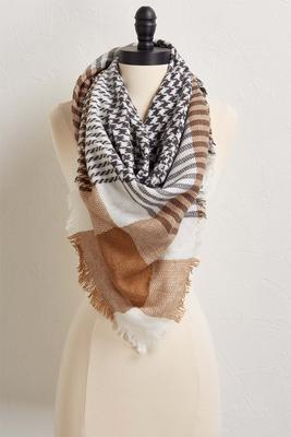 houndstooth and plaid scarf