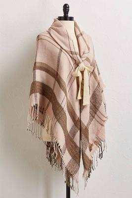 plaid fringe trim poncho