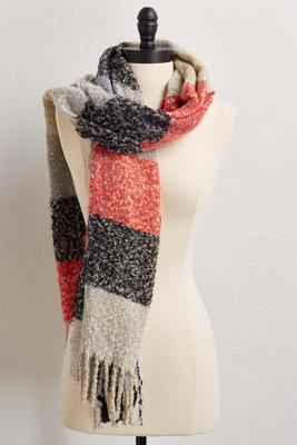 gray multi plaid boucle scarf