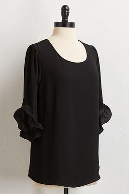 crepe ruffled sleeve top