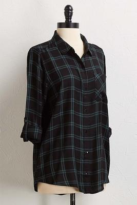 green plaid equipment shirt