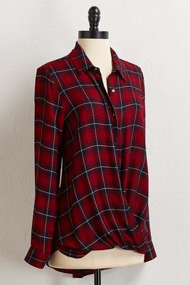 plaid twisted hem top