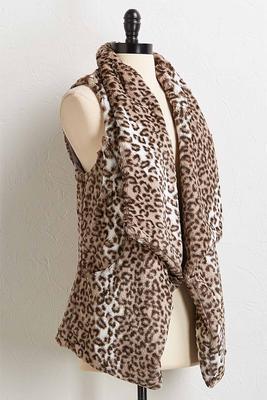 leopard faux fur vest