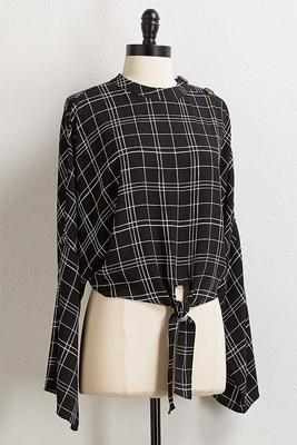 checkered button shoulder top