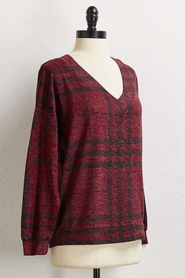 wine houndstooth tunic