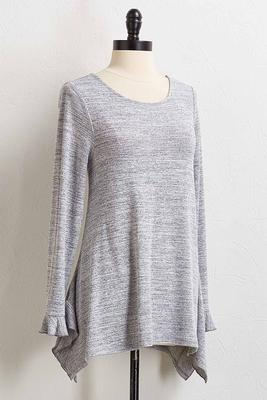 ruffled gray sweater