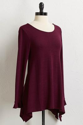 purple ruffled trim top