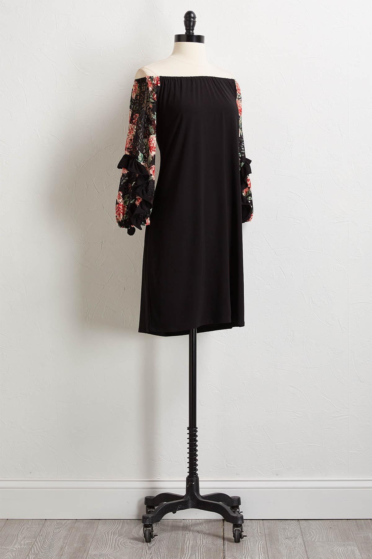 Floral Lace Sleeve Shift Dress