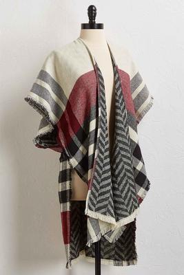 fringed plaid kimono