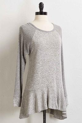 ribbed and ruffled tunic