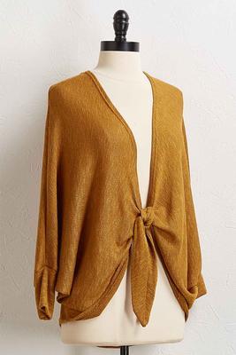 golden tie front cardigan