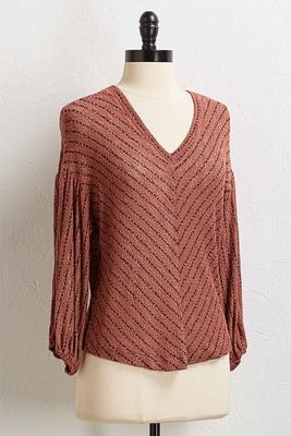 stripe hacci balloon sleeve top