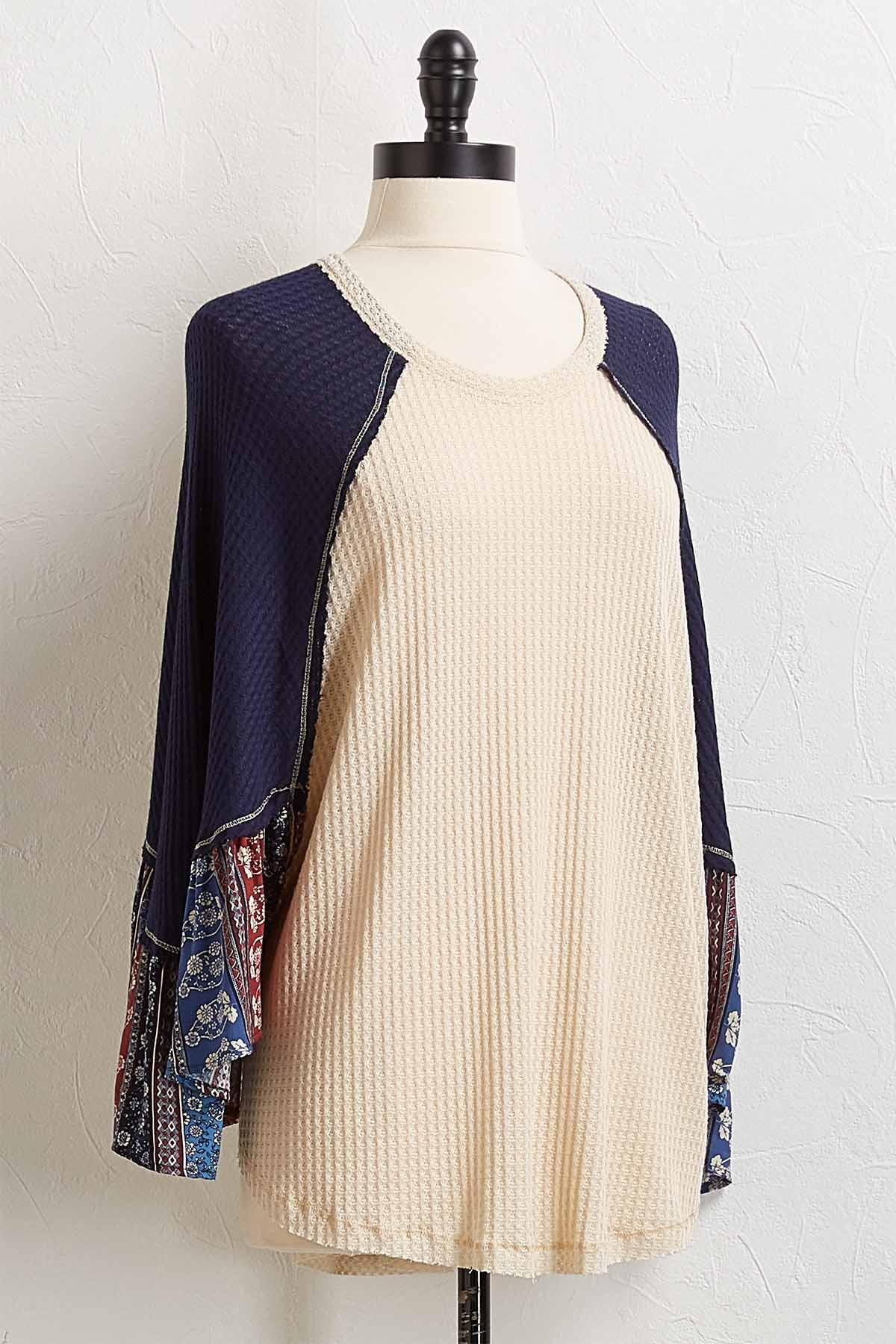 Floral Sleeve Waffle Top