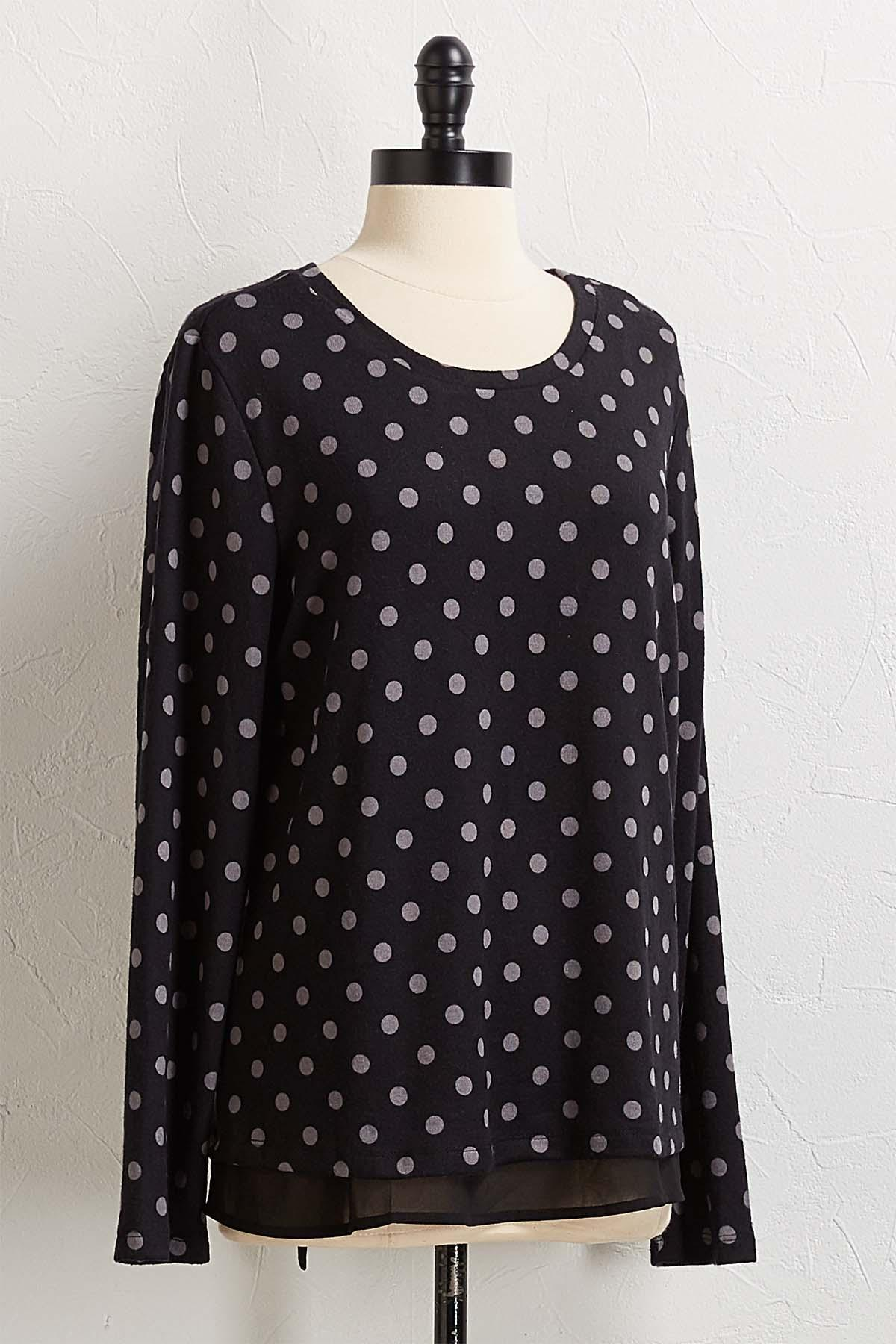 Layered Polka Dot Hacci Top