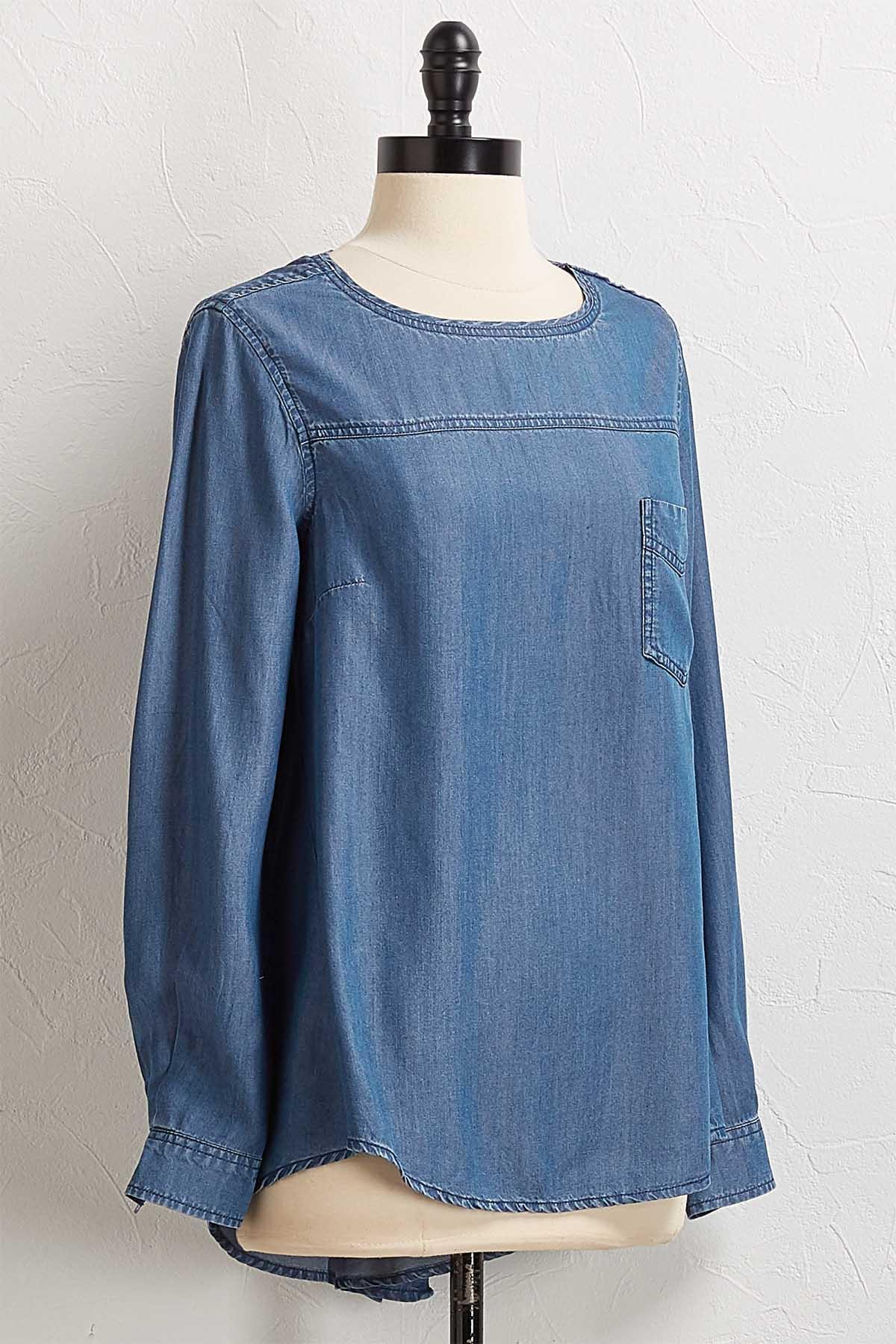 Button Back High- Low Chambray Top