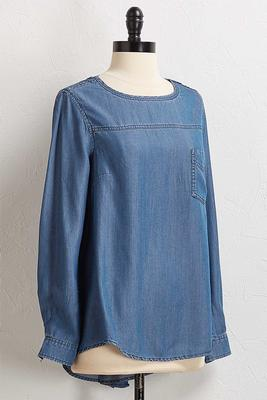 button back high-low chambray top