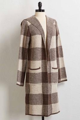 hooded plaid duster cardigan