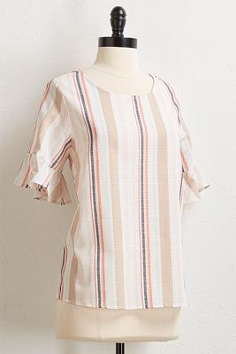 natural multi stripe top