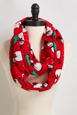 holiday snowman fleece infinity scarf