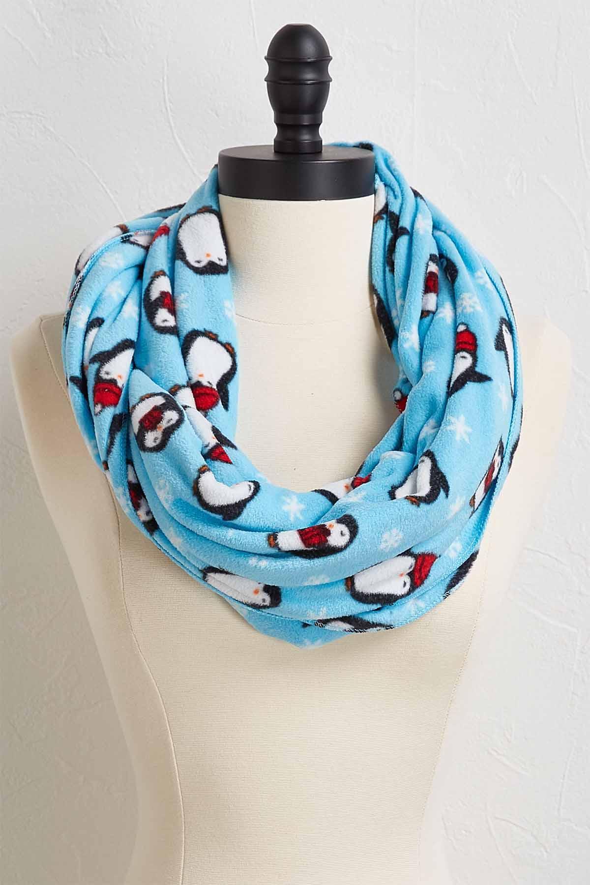 Holiday Penguin Fleece Infinity Scarf