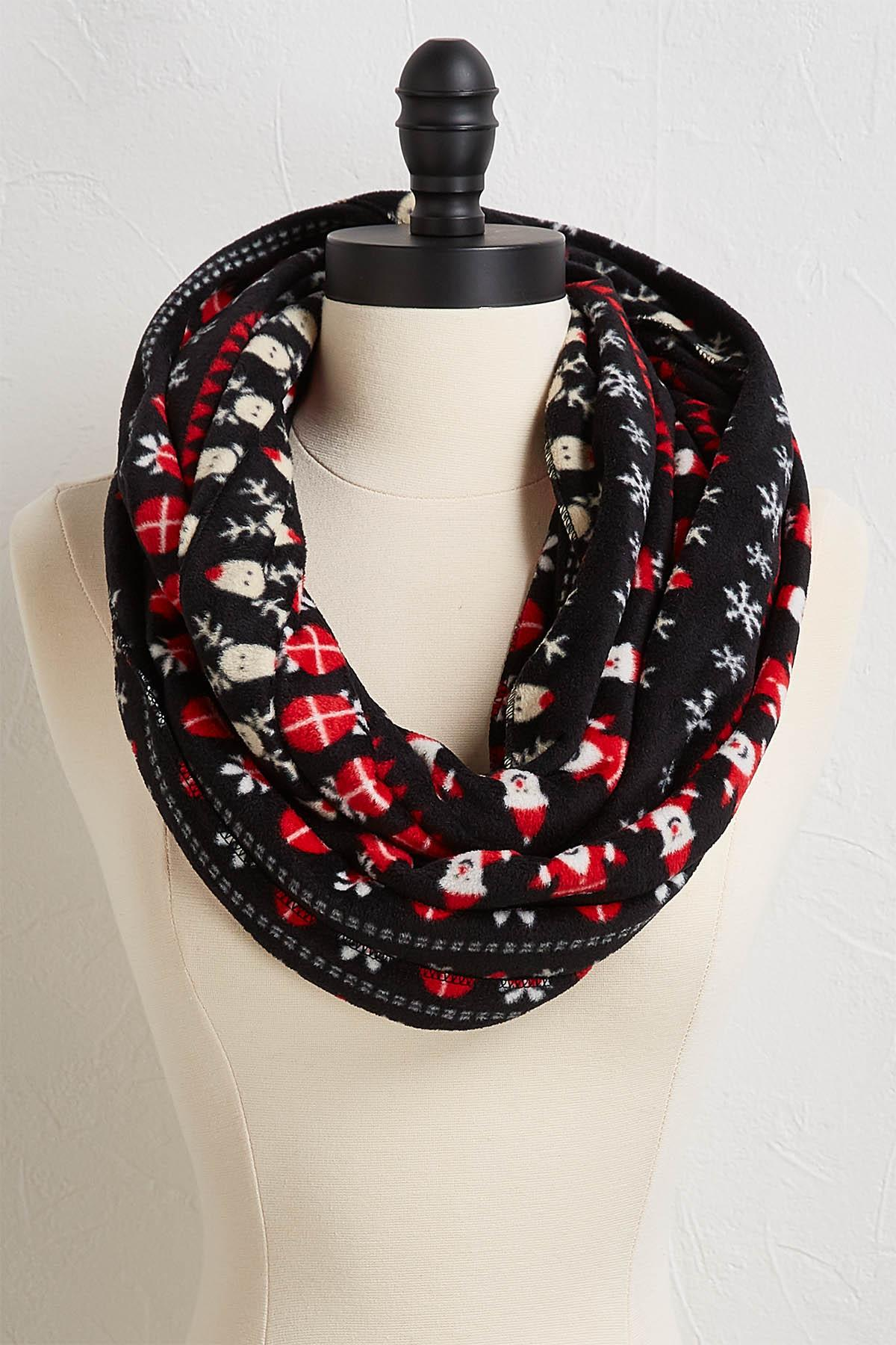 Santa And Rudolph Fleece Infinity Scarf