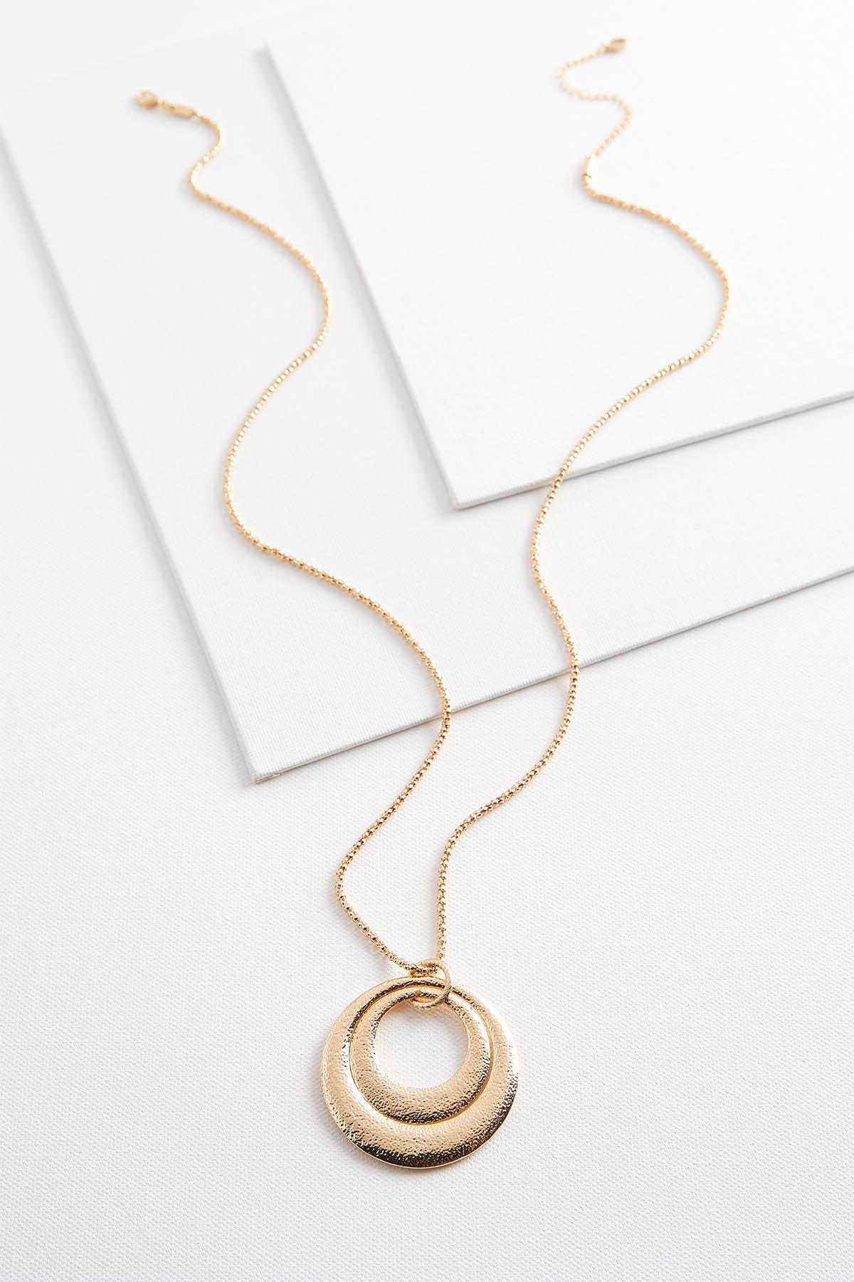 Textured Ring Pendant Necklace