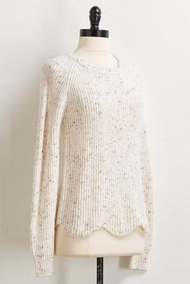 scallop hem confetti sweater