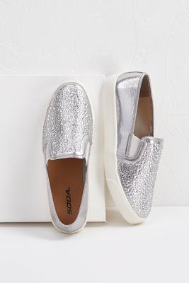 shimmer slip-on sneakers