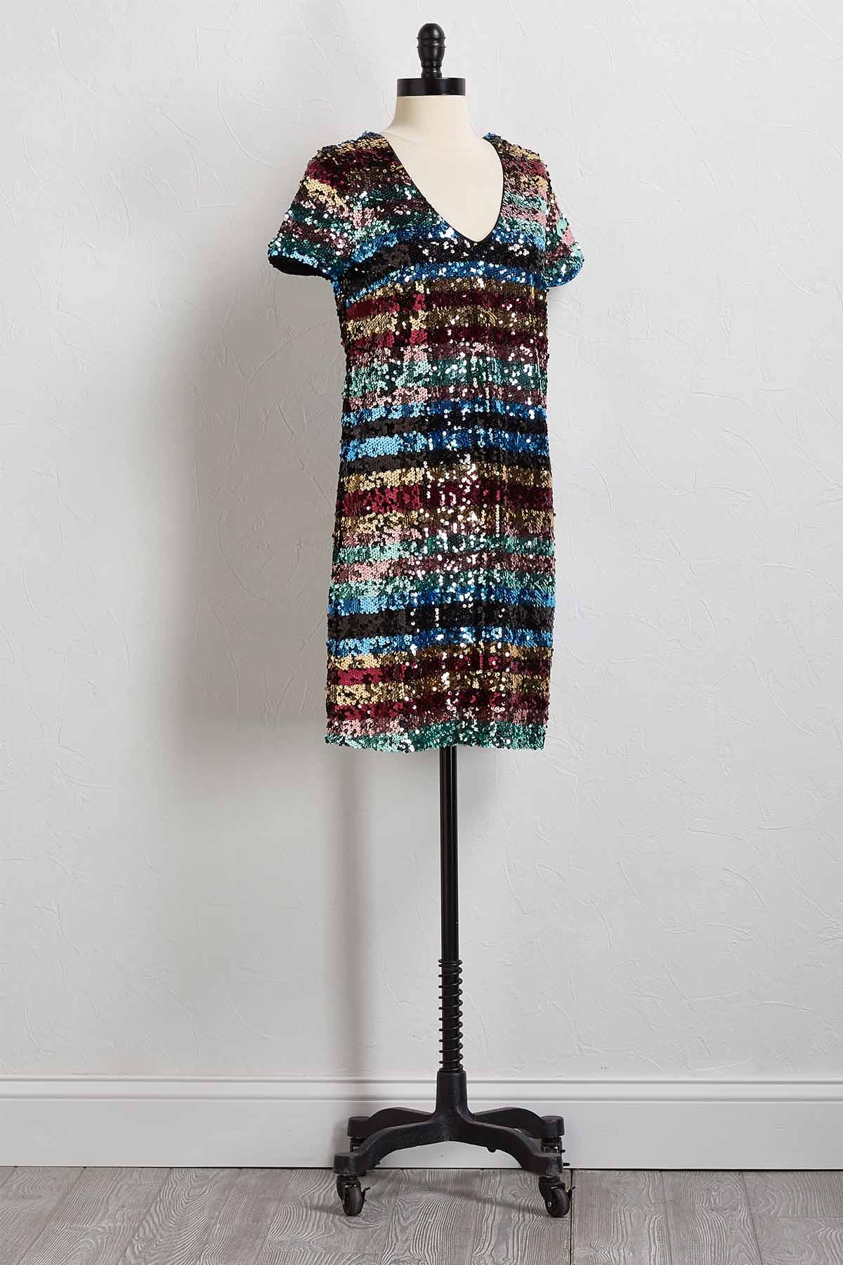 Rainbow Sequin Shift Dress