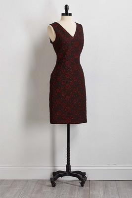 red floral sheath dress