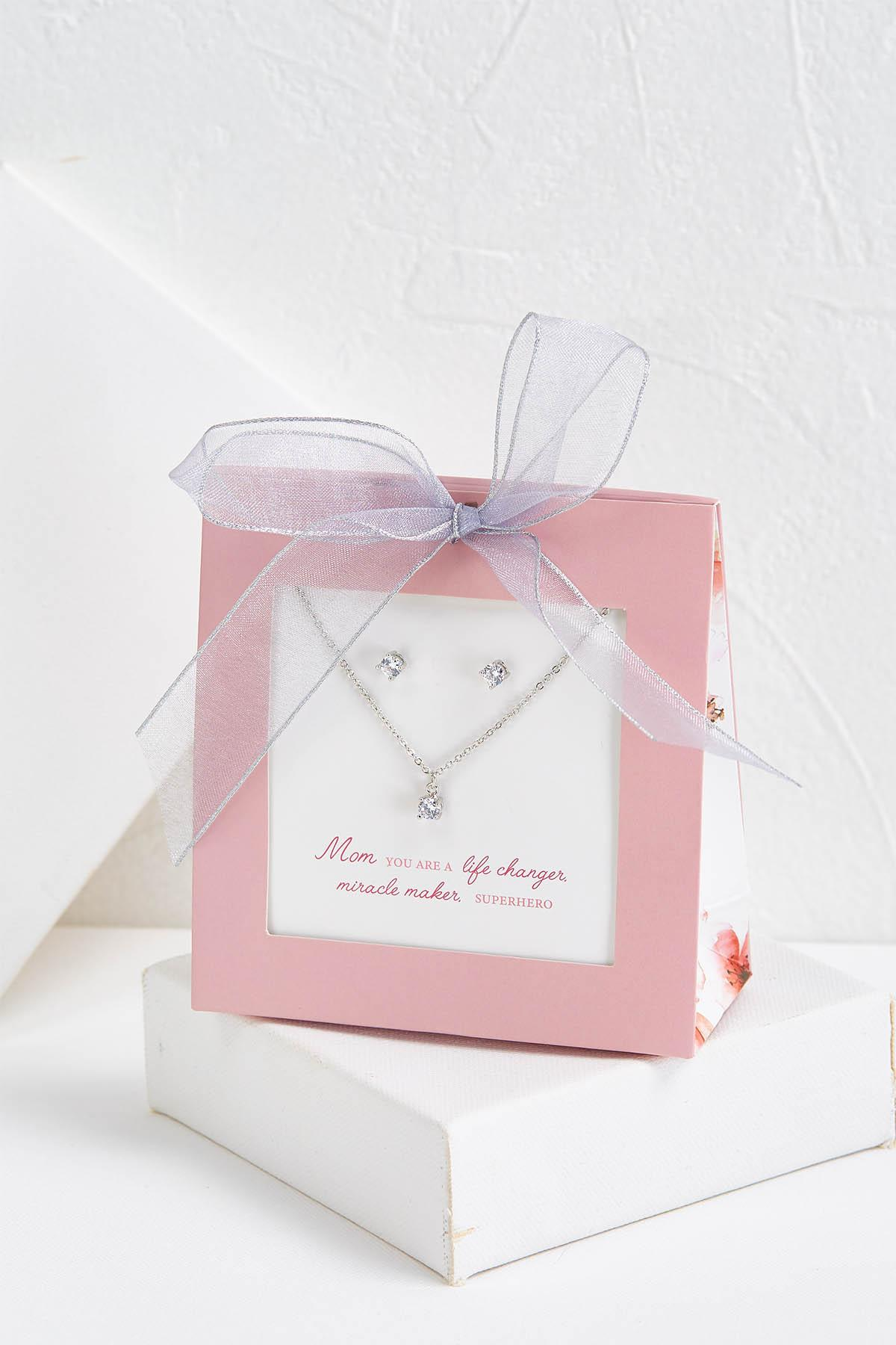 Mom Sparkling Necklace And Earring Set