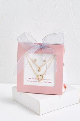friend necklace and earring set