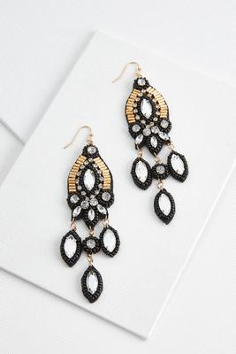 dangle beaded marquis earrings