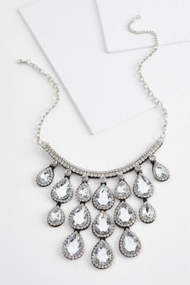 sparkling tear shaped bib necklace