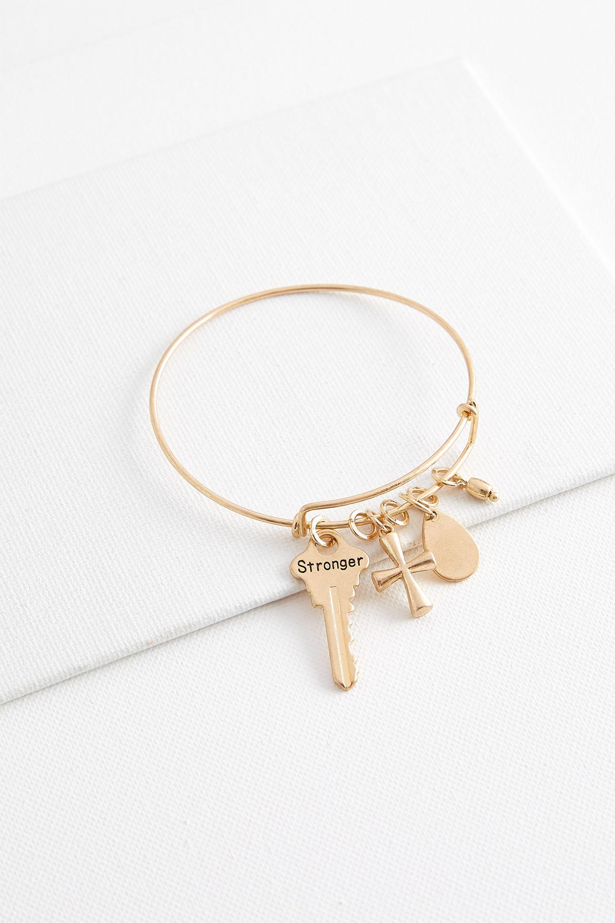 Stronger Charm Bangle Bracelet