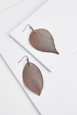 laser cut leaf earrings