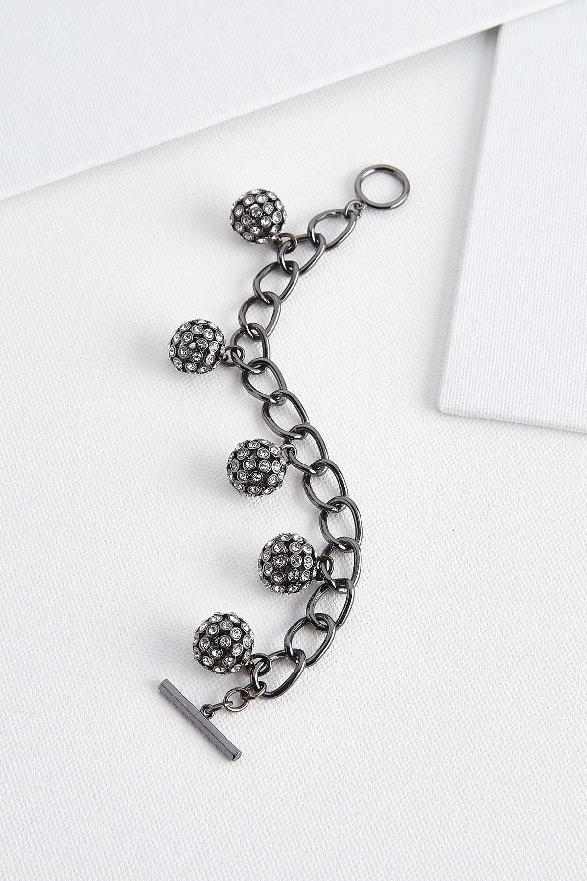 Rhinestone Charm Toggle Bracelet