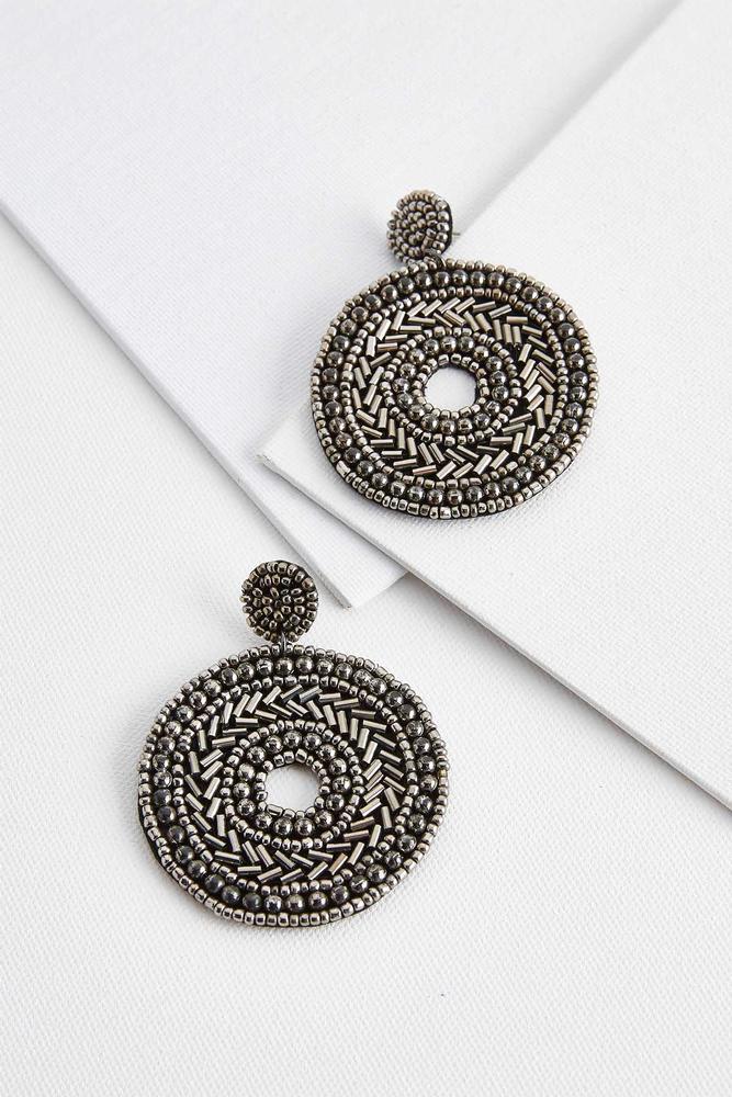 Beaded Fabric Statement Earrings