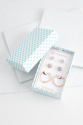 stud and hoop earring set