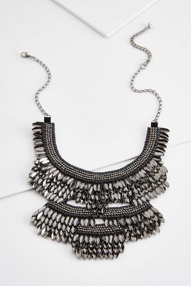 Metallic Fan Bib Necklace
